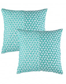 Green Towel Embroidered Geometric Cotton Linen Cushion Cover