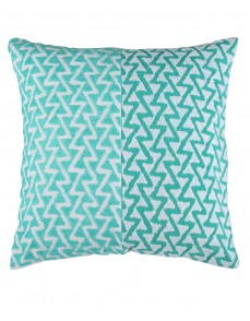 Geometric Towel Embroidered Sea Green Cotton Linen Cushion Cover