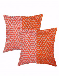 Towel Embroidered Geometric Orange Cotton Linen Cushion Cover