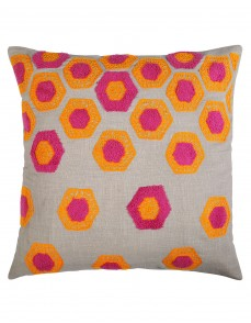 Geometric Towel Embroidered Cotton Linen Gray Cushion Cover