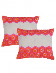 Geometric Towel Embroidered Cotton Linen Cushion Cover