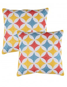 Geometric Patterned Towel Embroidered Cotton Cushion Cover