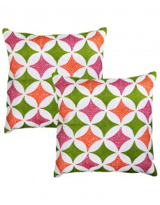 Towel Embroidered Geometric White Cotton Linen Cushion Cover