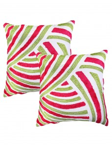 Striped Towel Embroidered Cotton Linen Cushion Cover