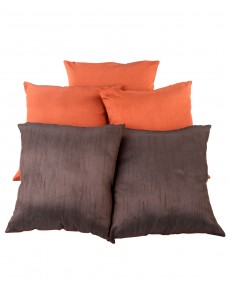Solid Yarn Dyed Rust Polydupion Reversible Cushion Cover