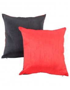 Solid Yarn Dyed Red Polydupion Reversible Cushion Cover