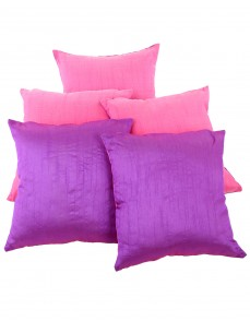 Solid Yarn Dyed Pink Polydupion Reversible Cushion Cover