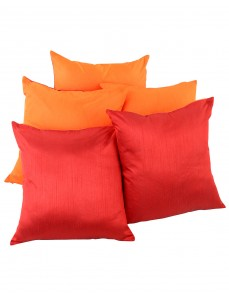 Solid Yarn Dyed Orange Polydupion Reversible Cushion Cover