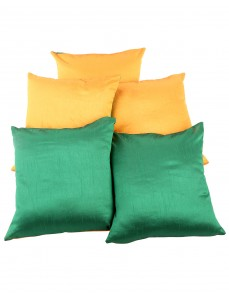 Solid Yarn Dyed Mustard Yellow Polydupion Reversible Cushion Cover