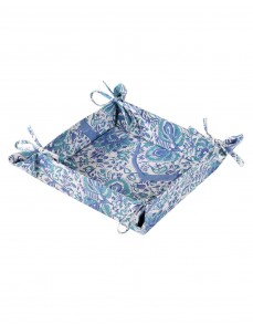 Floral Hand Block Printed White Cotton Bread Basket
