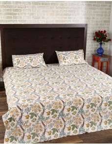 Floral Hand Block Printed Off White Cotton Bed Sheet (Set Of 3 Pcs)