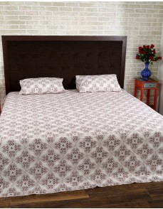 Leaves Hand Block Printed Off White Cotton Bed Sheet (Set Of 3 Pcs)