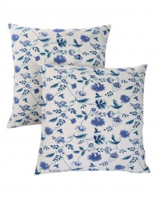 Floral Hand Block Printed White Cotton Cushion Cover