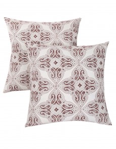 Leaves Hand Block Printed Off White Cotton Cushion Cover
