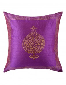 Home Furnishing Single Pillow Shams Polyester Elite Purple Throw Pillows Ethnic  Cushion Covers Hand Block Printed Damask