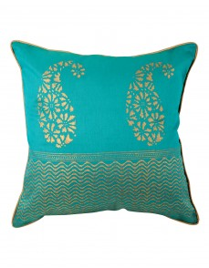 Handmade Designs Green Pillowcases  Traditional Designs Polyester Pillow Covers Unique Single Pillow Shams Hand Block Printed Paisley