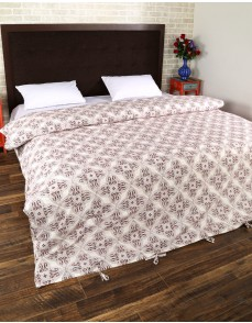 Leaves Hand Block Printed Off White Cotton Duvet Cover
