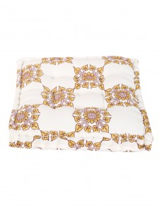 Floral Hand Block Printed Off White Cotton Canvas Floor Cushion