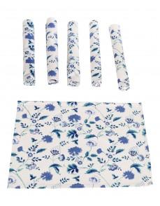 Floral Hand Block Printed White Cotton Canvas Placemat (Set Of 6 Pcs)