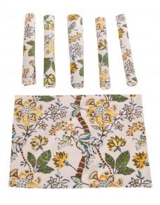 Floral Hand Block Printed Off White Cotton Canvas Placemat (Set Of 6 Pcs)