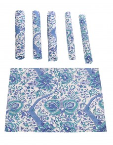 Floral Hand Block Printed White Cotton Canvas Placemat (Set Of 6 Pcs)