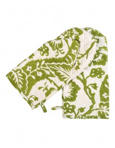 Floral Hand Block Printed Off White Cotton Oven Glove (Set Of 2 Pcs)