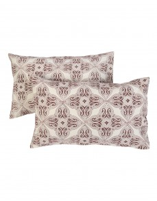 Leaves Hand Block Printed Off White Cotton Pillow Cover (Set OF 2)