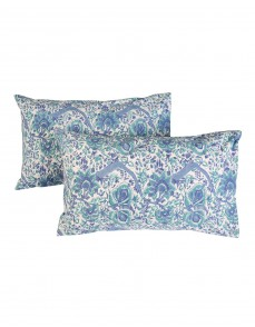 Floral Hand Block Printed White Cotton Pillow Cover (Set OF 2)