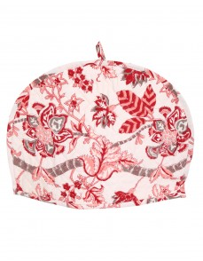 Floral Hand Block Printed Off White Cotton Tea Cosy