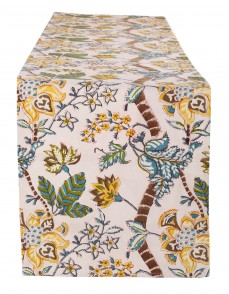 Floral Hand Block Printed Off White Cotton Canvas Table Runner