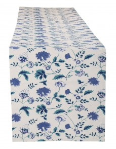 Floral Hand Block Printed White Cotton Canvas Table Runner
