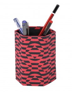 Cardboard Paper Abstract Printed Red Pen Holder