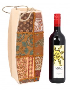 Brown Cardboard Paper Floral Patch Work Wine Bottle Holder