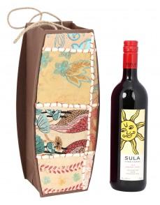 Cream Cardboard Paper Floral Patch Work Wine Bottle Holder