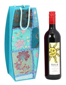 Turquoise Cardboard Paper Floral Patch Work Wine Bottle Holder