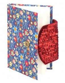 Blue Cardboard Cotton Fabric Floral Printed Sequins Work Diary