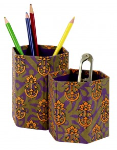 Ethnic Cardboard Paper Printed Floral Olive Green Pen Holder