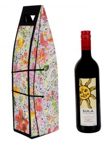 Exclusive White Printed Card Board Paper Wine Bottle Holder