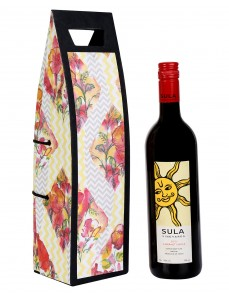 Gorgeous Yellow Printed Card Board Paper Wine Bottle Holder