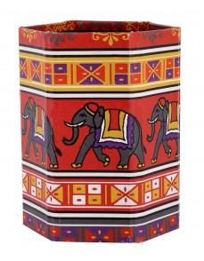 Indian Elephant Red Printed Cardboard Paper Pen Holder
