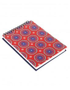 Floral Printed Dark Red Cardboard Paper Diary