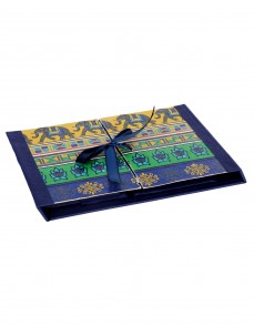Elephant Printed Dark Blue Cardboard Paper Diary
