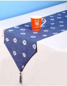 Tie Dye Polka Dot Dark Blue Cotton Table Runner