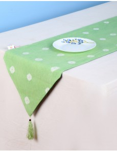 Polka Dot Tie Dye Emerald Green Cotton Table Runner