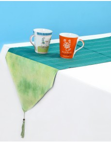 Tie Dye Emerald Green Cotton Table Runner