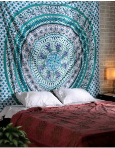 Magical Bird of Devotion Green Mandala Tapestry Exclusively, Decorative Wall Hanging, Picnic Beach Sheet