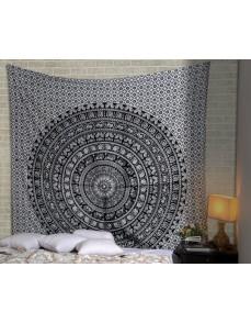 Black & White Elephant Printed Mandala Tapestry