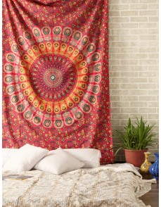 Reddish kaleidoscopic wall hanging Block print floral Indian Tapestry, Decorative Wall Hanging, Picnic Beach Sheet