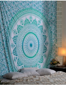 Trendy Cotton Green Tapestry Printed Designer Wall Hanging