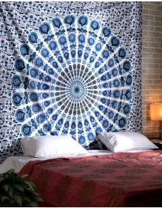 Cotton White Printed Mandala Tapestry